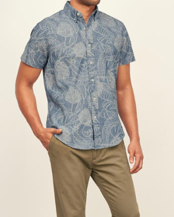 Mens Printed Chambray Short Sleeve Shirt