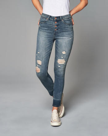 Womens High Rise Ankle Jeans