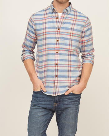 ANF Madras Plaid Shirt