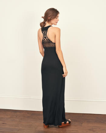 Womens Lace Back Maxi Dress