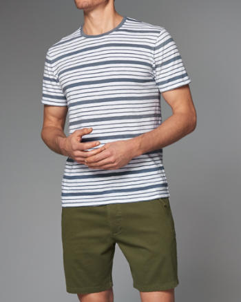 Mens Striped Slub Crew Tee