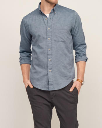 Mens Textured Chambray Shirt
