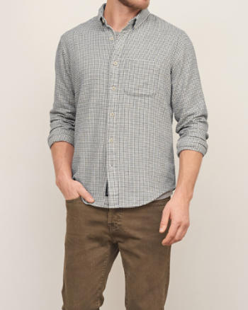 Mens Textured Check Shirt