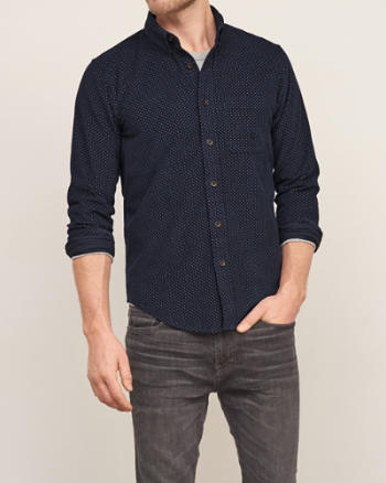 Mens Textured Dot Patterned Shirt