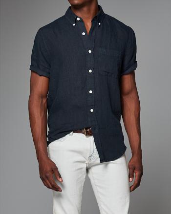 ANF Garment Dye Linen Short Sleeve Shirt