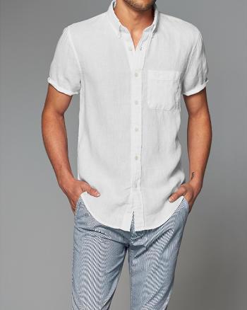 ANF Linen Short-Sleeve Shirt
