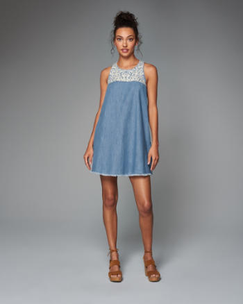 Womens Embroidered Denim Swing Dress