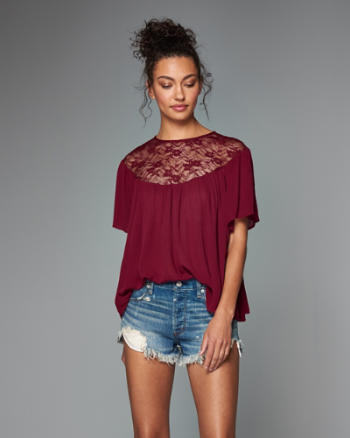 Womens Lace Panel Drapey Tee