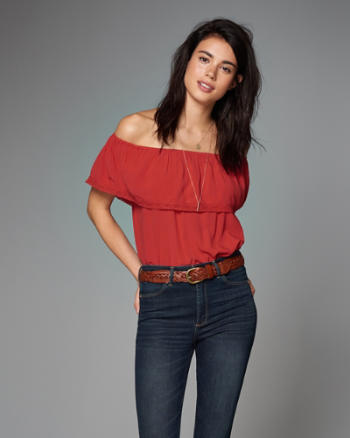 ANF Gauzy Overlay Off-The-Shoulder Top