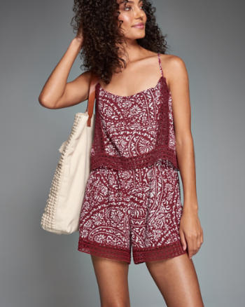 Womens Lace-Trim Overlay Romper