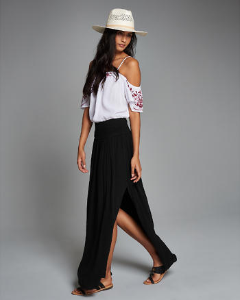 ANF Embroidered Smocked Maxi Skirt