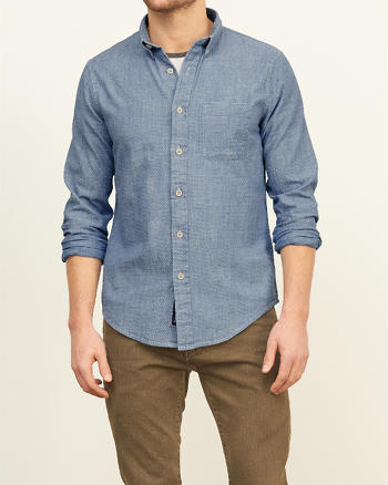 ANF Textured Button-Down Shirt