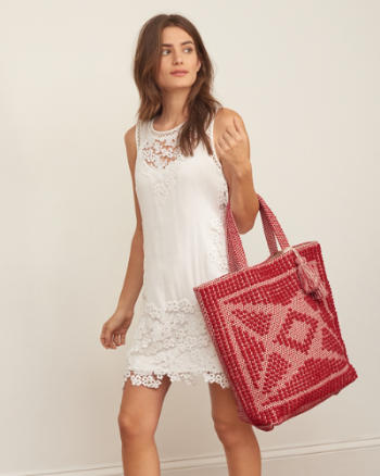 Womens Diamond Tassel Tote