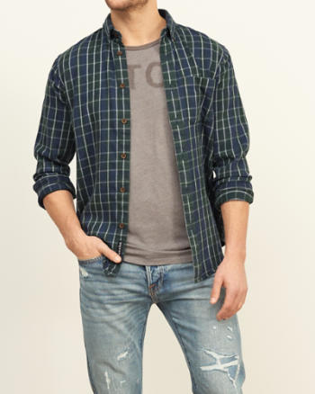 Mens Plaid Textured Shirt