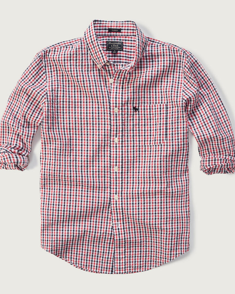 Mens classic fit seersucker shirt mens sale for Mens seersucker shirts on sale