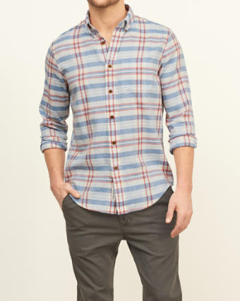 ANF Classic Fit Madras Shirt