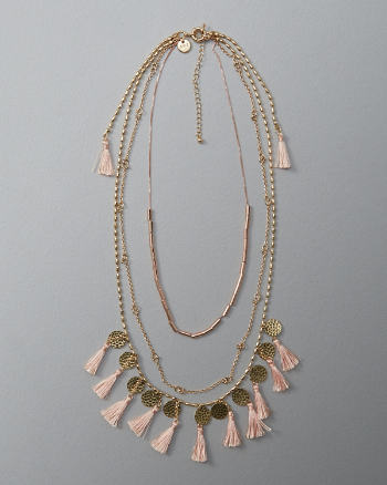 Womens Tassel Layered Necklace