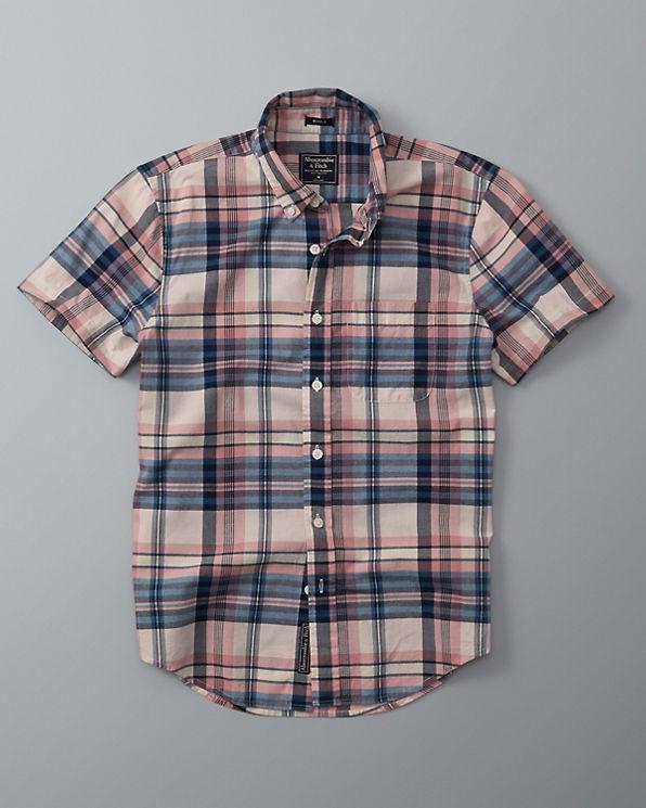 Mens plaid madras short sleeve shirt mens tops for Mens madras shirt sale
