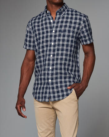 ANF Plaid Linen Shirt