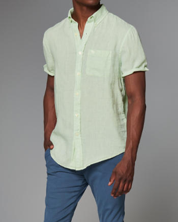 Mens Garment Dye Linen Short Sleeve Shirt