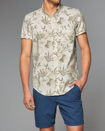 Mens Floral Short-Sleeve Shirt