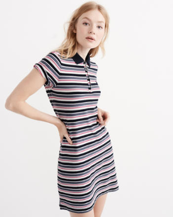 Womens Stripe Polo Dress