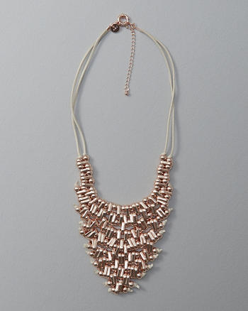 ANF Beaded Cluster Statement Necklace