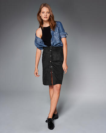 ANF Faux Suede Button Midi Skirt
