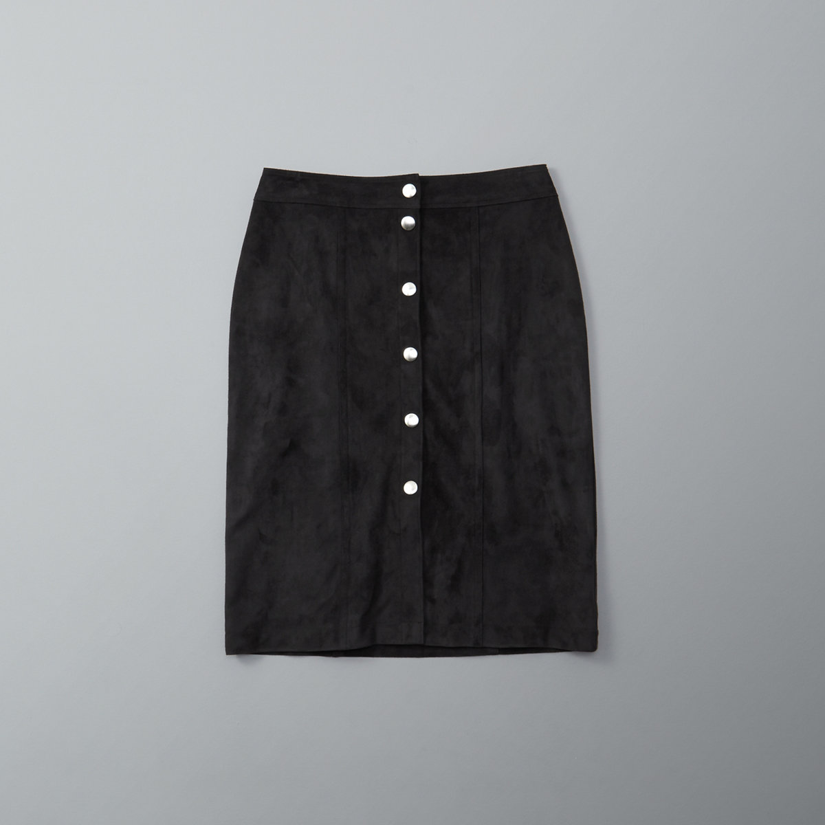 Faux Suede Button Midi Skirt
