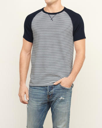 Mens Colorblock Stripe Crew Tee