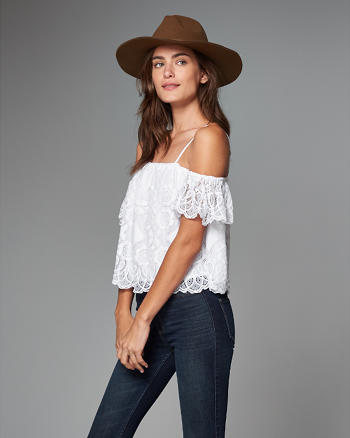 ANF Lace Cold Shoulder Peasant Top