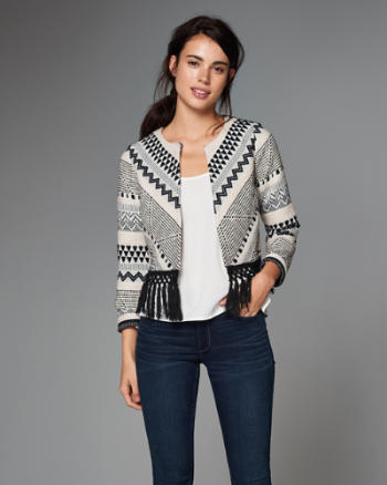 ANF Tapestry Fringe-Trim Jacket