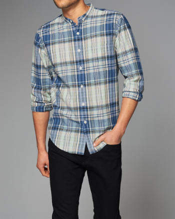 Mens Plaid Madras Banded Shirt