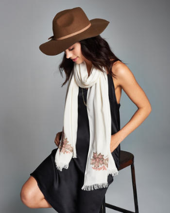 Womens Embellished Wrap Scarf