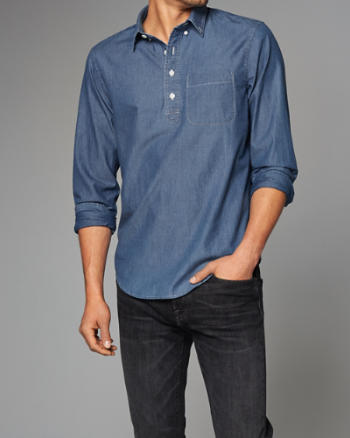 Mens Chambray Button-Front Shirt