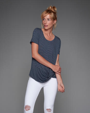 Womens Drapey Knot Front Tee