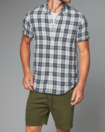 Mens Check Linen Shirt