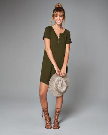 Womens Henley T-Shirt Dress