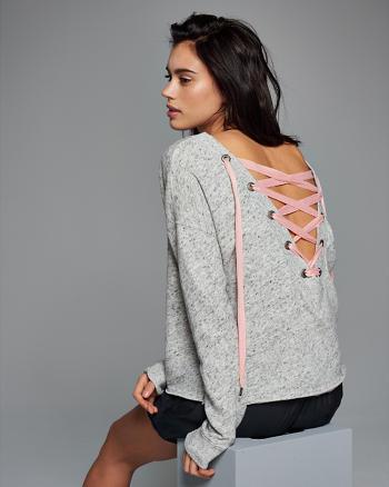 ANF Lace-Up Back Crew Sweatshirt