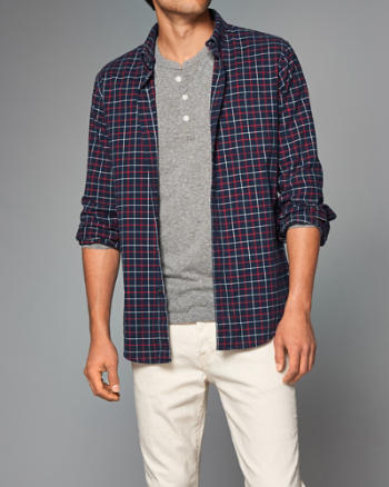 Mens Plaid Oxford Shirt