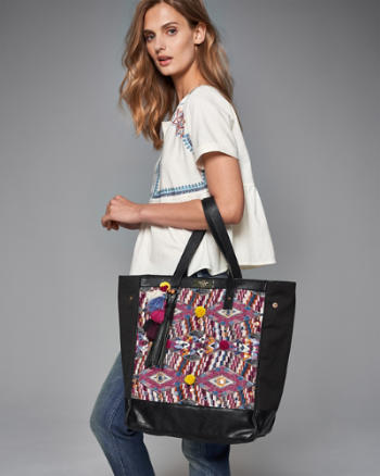ANF Geometric Woven Tote