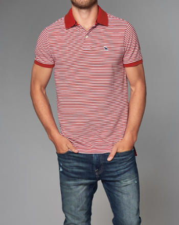 ANF Logo Striped Polo