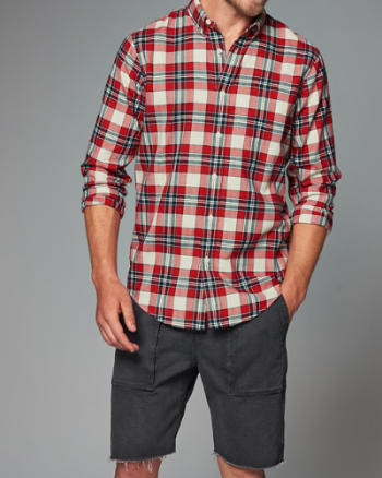 Mens Classic Fit Plaid Herringbone Shirt