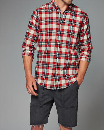 ANF Relaxed Fit Plaid Herringbone Shirt