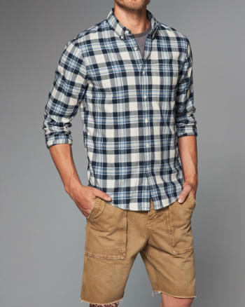 Mens Plaid Herringbone Button-Up Shirt