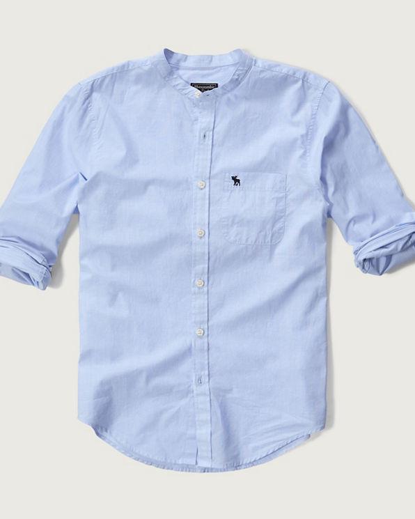 Mens poplin banded collar shirt mens tops for Mens big and tall banded collar shirts
