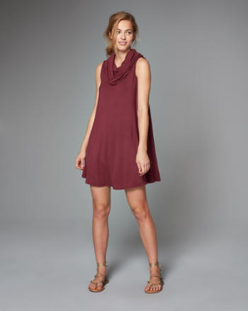 Womens Cowl Neck Swing Dress