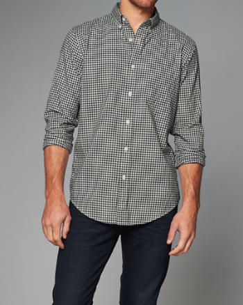Mens Classic Fit Patterned Herringbone Shirt