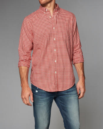 ANF Classic Fit Patterned Herringbone Shirt