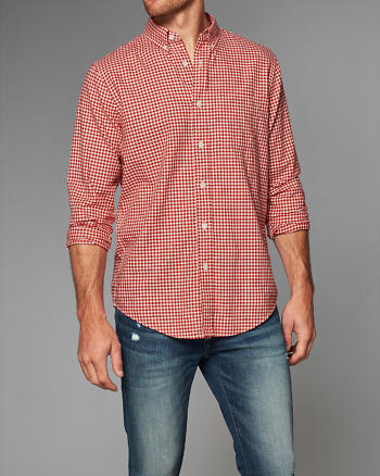 ANF Relaxed Fit Patterned Herringbone Shirt